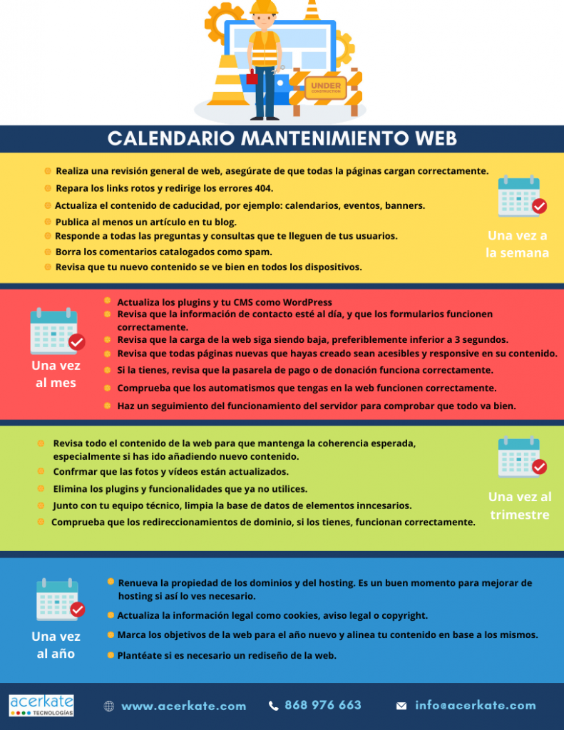 Calendario para mantenimiento web